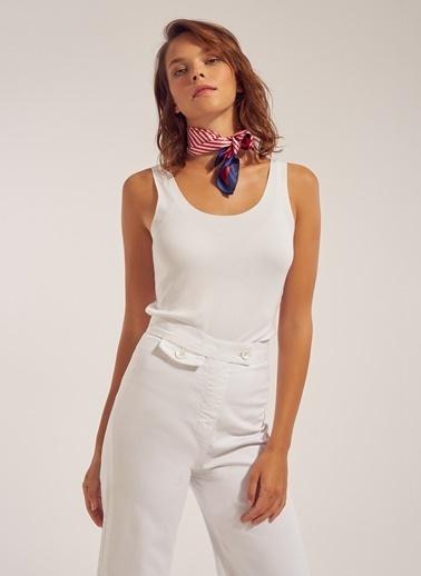 Monamoda Kalın Askılı Viskon Bluz Beyaz